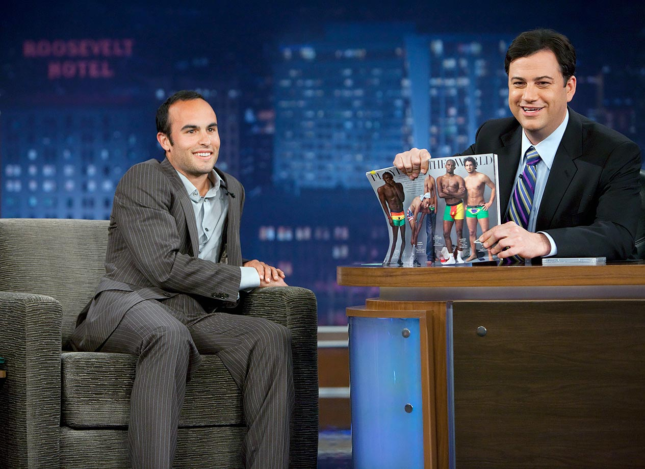 Landon Donovan made an appearance on the Jimmy Kimmel Show, where the host had fun with a magazine spread in which Donovan was wearing patriotic underwear.