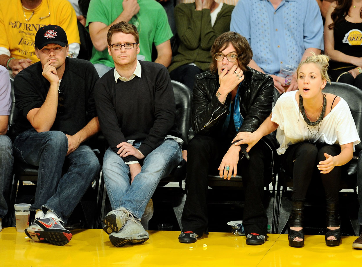 Leonardo DiCaprio, Kevin Connolly, Jason Loewenstein and Kaley Cuoco attend Game 2 of the NBA Finals between the Los Angeles Lakers and Boston Celtics at Staples Center in Los Angeles.