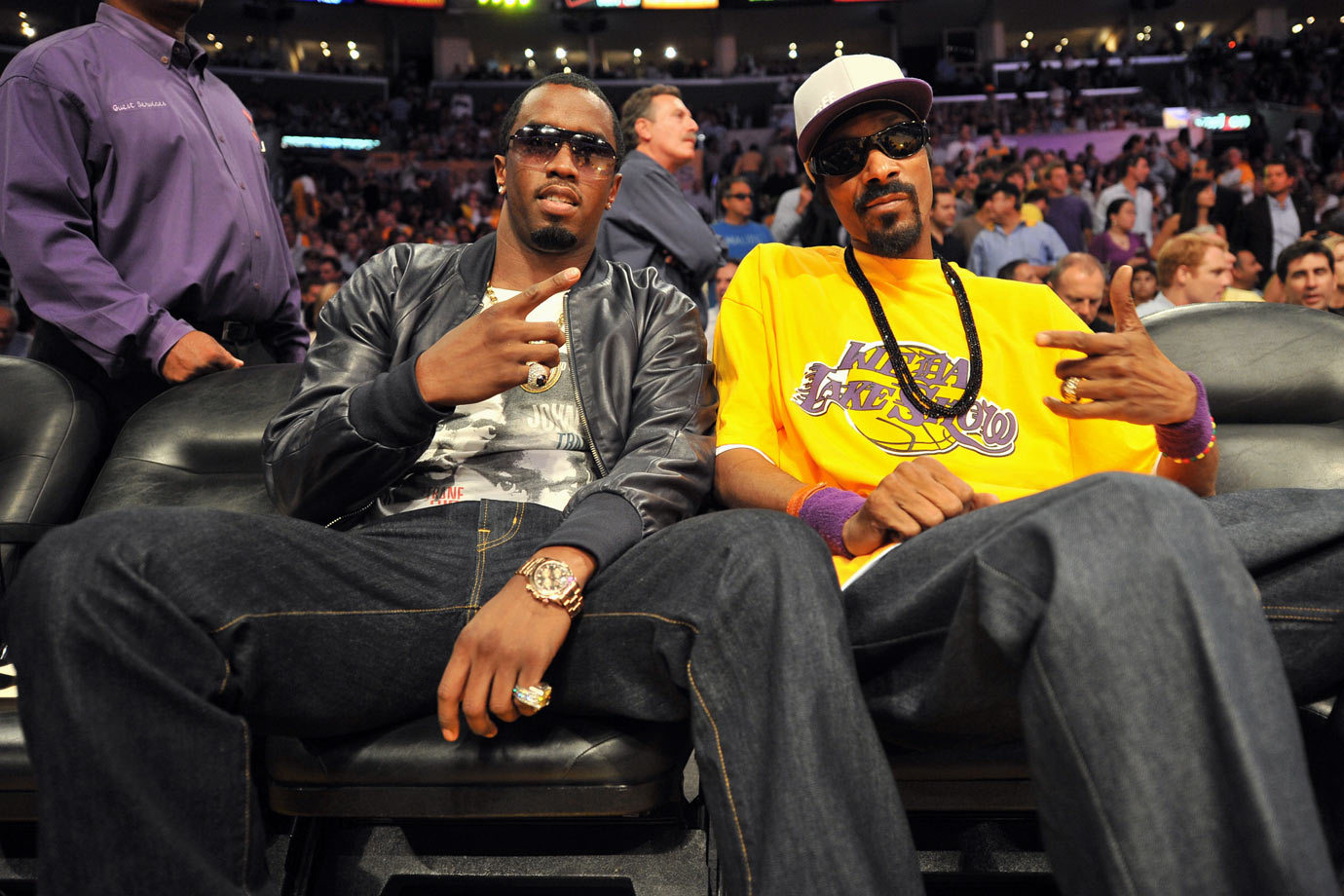 Sean Combs and Snoop Dogg attend Game Six of the NBA Finals between the Boston Celtics and Los Angeles Lakers on June 15, 2010 at Staples Center in Los Angeles.