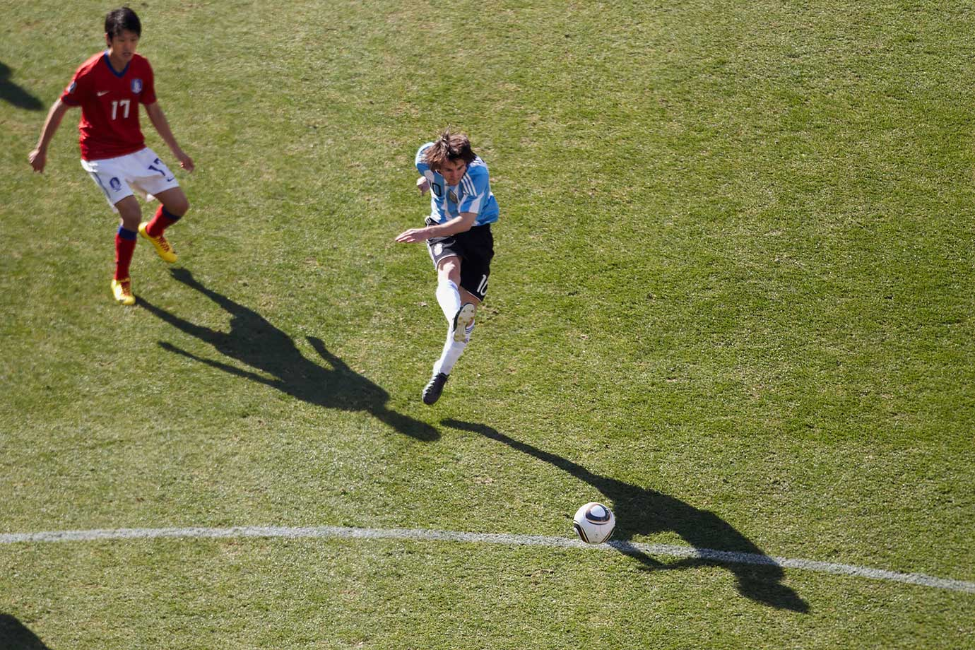 Argentina's Lionel Messi plays the ball during the FIFA World Cup Group B match against South Korea on June 17, 2010 at Soccer City Stadium in Johannesburg, South Africa.