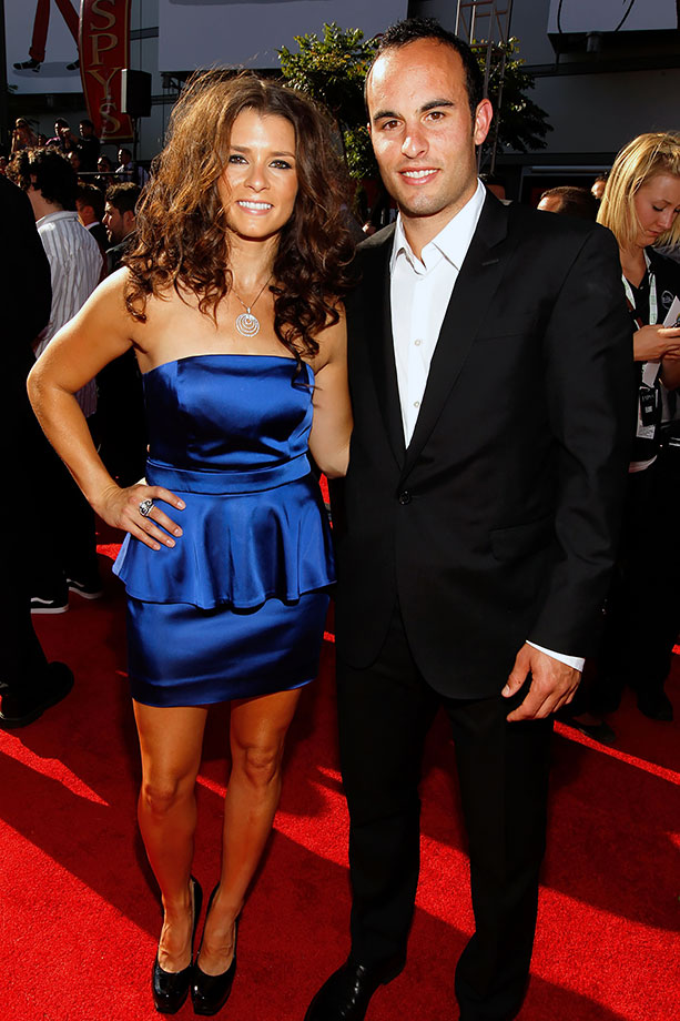 Danica Patrick and Landon Donovan pose together at the 2010 ESPY Awards in Los Angeles.