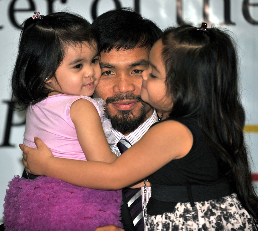 Manny Pacquiao and daughters Mary and Queen