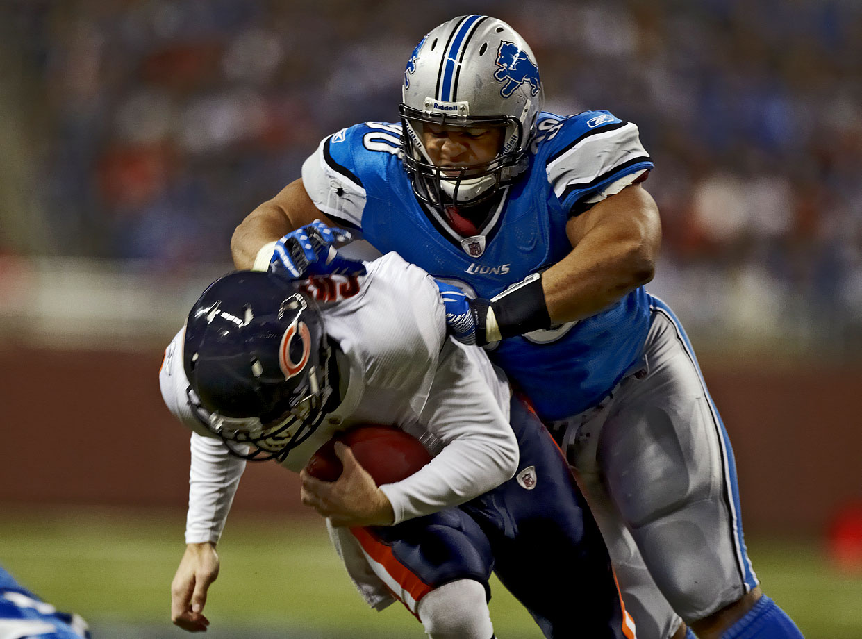 Suh has a history with Bears QB Jay Cutler, starting with a nasty forearm shove, during a game in December 2010, that was deemed a blow to the head and cost the defensive tackle $15,000. Replays later showed that Suh actually hit Cutler above the shoulder pads and below the neck, but the hit was still deemed a fineable offense.