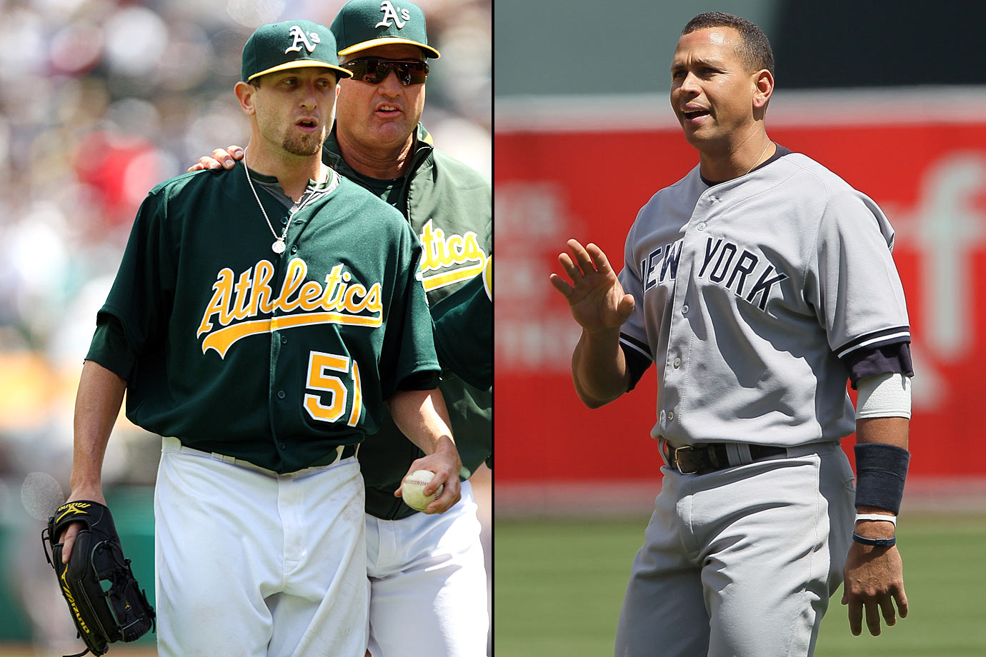 "Rodriguez angered A's pitcher Dallas Braden when he broke the unwritten rule of not walking across an opposing team's pitcher's mound. The incident occurred in the sixth inning of an early-season game in 2010. A-Rod went from first to third on a foul ball by Robinson Cano. On his trip back to first base, Rodriguez walked over the mound. After a double play ended the inning, Braden started yelling at A-Rod, who later said he'd never heard of the rule. When asked about it after the game, Braden suggested Rodriguez ""take a note from his captain"" and not do it again."