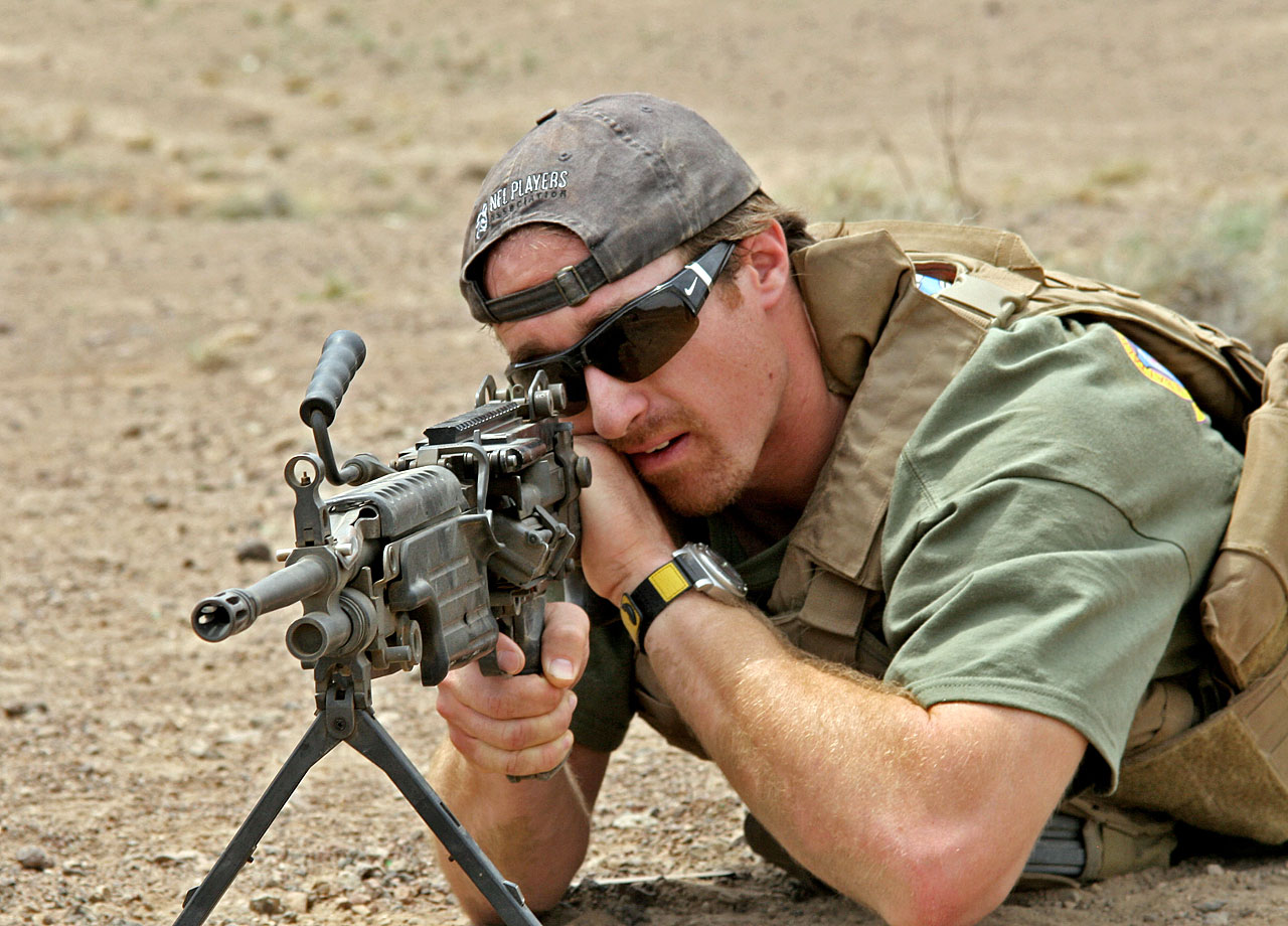Consistently lethal on the field, Drew Brees displays his weaponry off it during this trip to the U.S. Marine Corps. He showed his gratitude to the troops by visiting the 24th Marine Expeditionary Unit in Djibouti.
