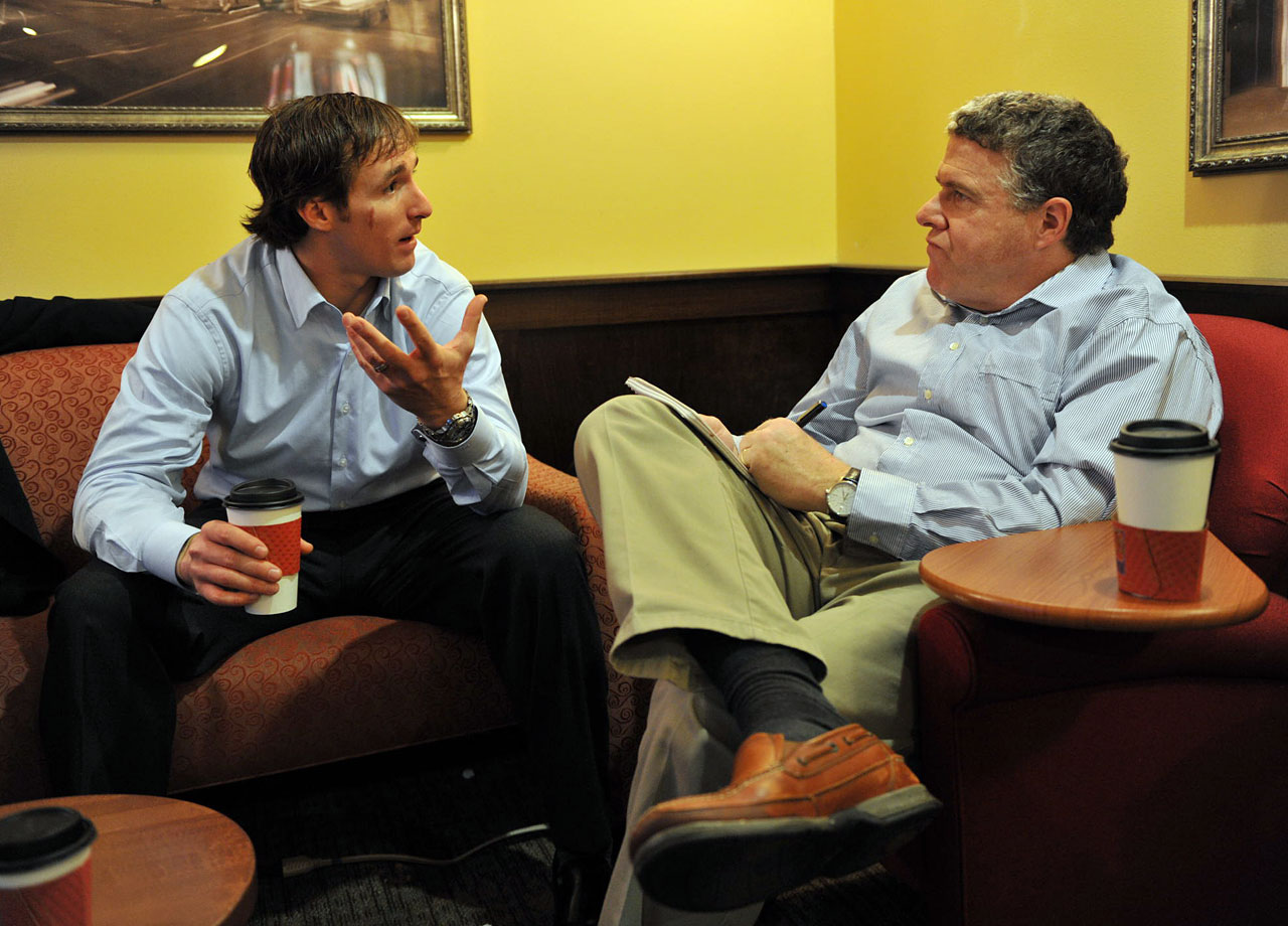 Drew Brees sits down with Sports Illustrated senior writer Peter King in a coffee shop in Jan. 2010. After their conversation, he'd go on to knock of the Cardinals, Vikings and Colts en route to an unforgettable Super Bowl victory.