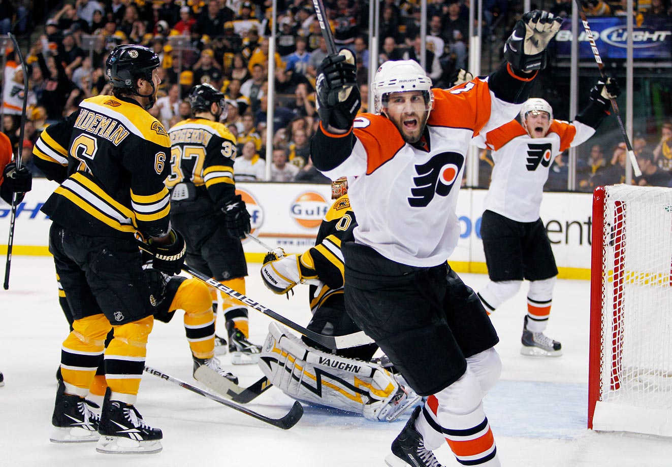 Down 3-0 in games, Philadelphia rallied to tie the series. Down 3-0 in Game 7, Philadelphia rallied again and Simon Gagne's power-play goal in the third period lifted the Flyers to an improbable 4-3 win over the Bruins. It was a humiliating defeat for Boston, which became the third team in NHL history to flush a series after winning the first three games. The Flyers thus joined the exclusive ranks of the 1942 Toronto Maple Leafs, who beat Detroit, and the 1975 New York Islanders, who eliminated Pittsburgh, by climbing out of an 0-3 coffin. The other 159 teams that had won the first three games of a series had prevailed.