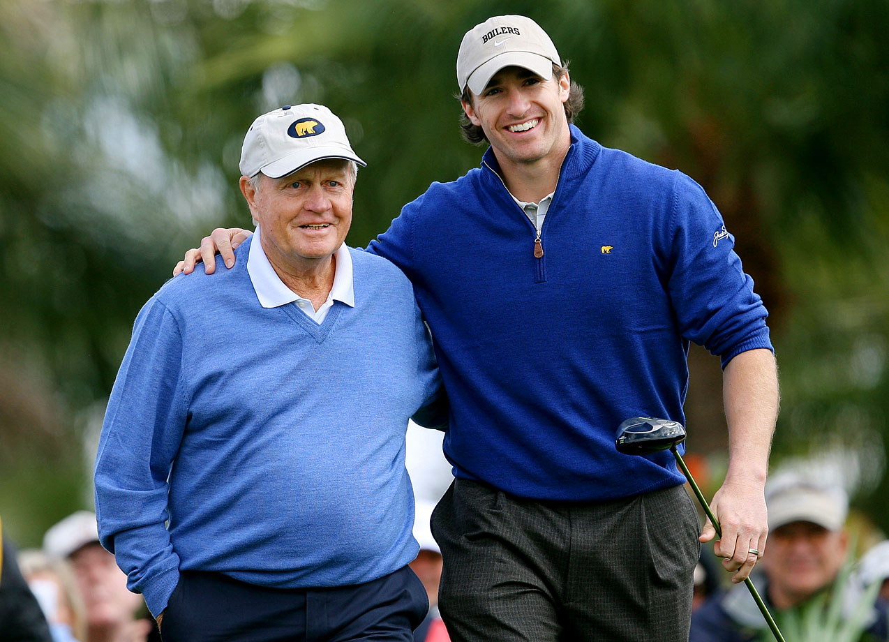 A legend in his own sport, Jack Nicklaus poses with Drew Brees during the Honda Classic Kenny G Gold Pro-Am.