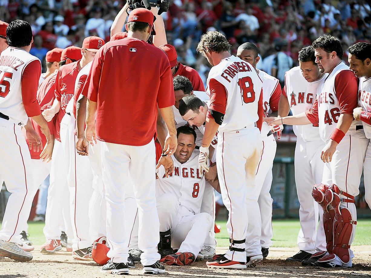 The Angels' first baseman broke his leg stomping on home plate after hitting a walk-off grand slam on May 29, 2010.