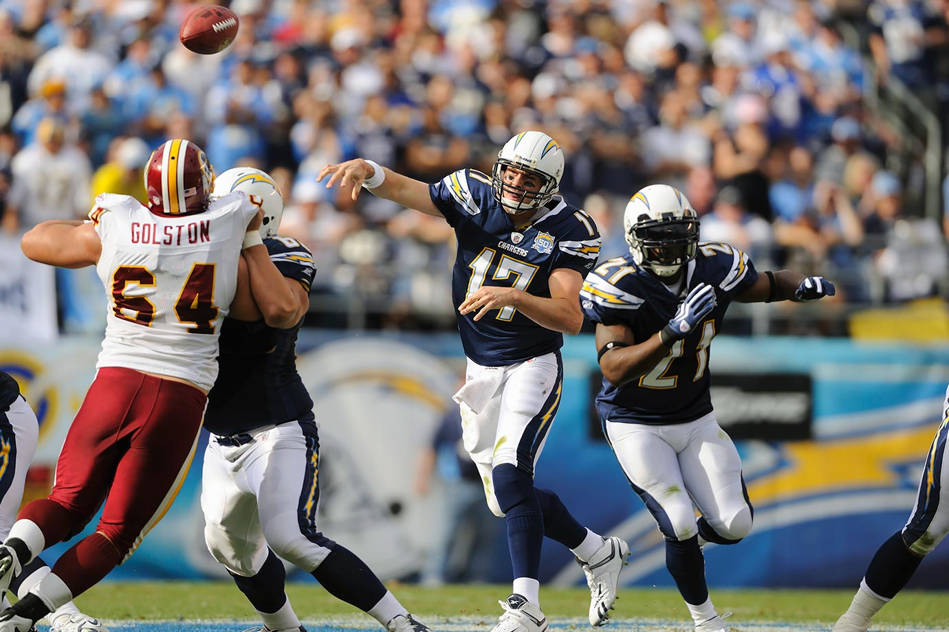 The Chargers headed into the playoffs on an 11-game winning streak. Although the play of their backups in the final game of the regular season set the franchise record, it was quarterback Philip Rivers who led San Diego all season, finishing with 28 TD passes, 9 interceptions, and a career-high 4,254 passing yards.