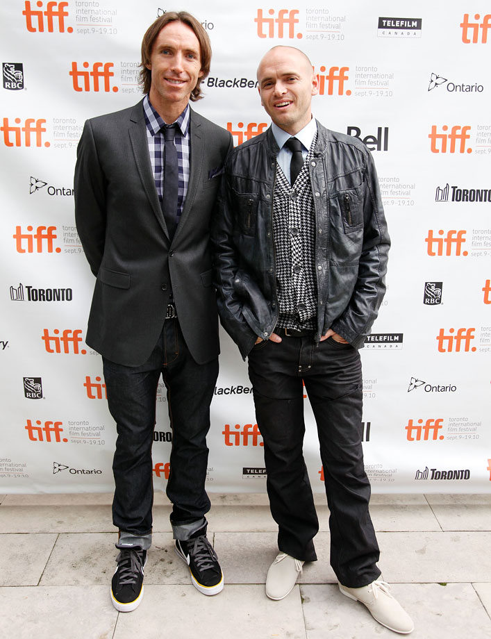 """Nash smiles for the camera with Ezra Holland before the premiere of their movie """"Into the Wind."""" The story, Nash's filmmaking debut, details the tale of Terry Fox, a marathon runner trying to raise cancer awareness. It was featured in ESPN's 30 for 30 campaign."""