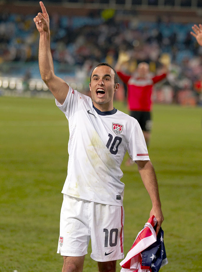 Landon Donovan celebrates after scoring the game winning goal in the 91st minute against Algeria. Needing a win to advance, the goal secured the U.S. as winners of Group C and advanced it to the Round of 16.