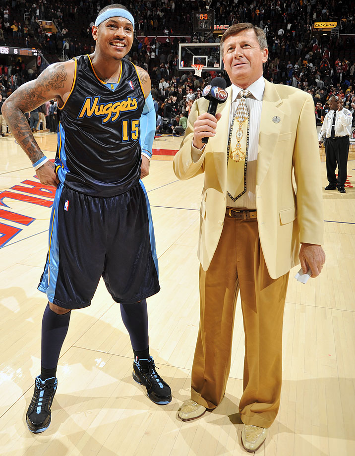 Craig Sager interviews Carmelo Anthony following the Denver Nuggets win over the Cleveland Cavaliers on Feb. 18, 2010 at Quicken Loans Arena in Cleveland.