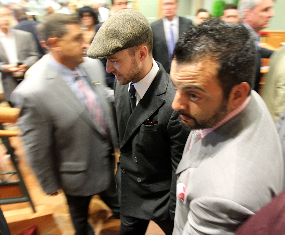 Justin Timberlake arrives for the 136th running of the Kentucky Derby at Churchill Downs in Louisville, Ky., on May 1, 2010.