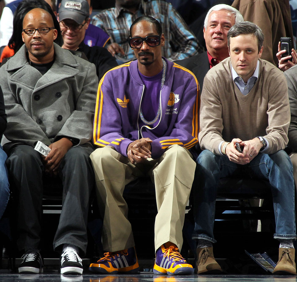 Snoop Dogg sits courtside during a game between the Memphis Grizzlies and the Los Angeles Lakers on Feb. 7, 2011 at FedExForum in Memphis, Tenn.