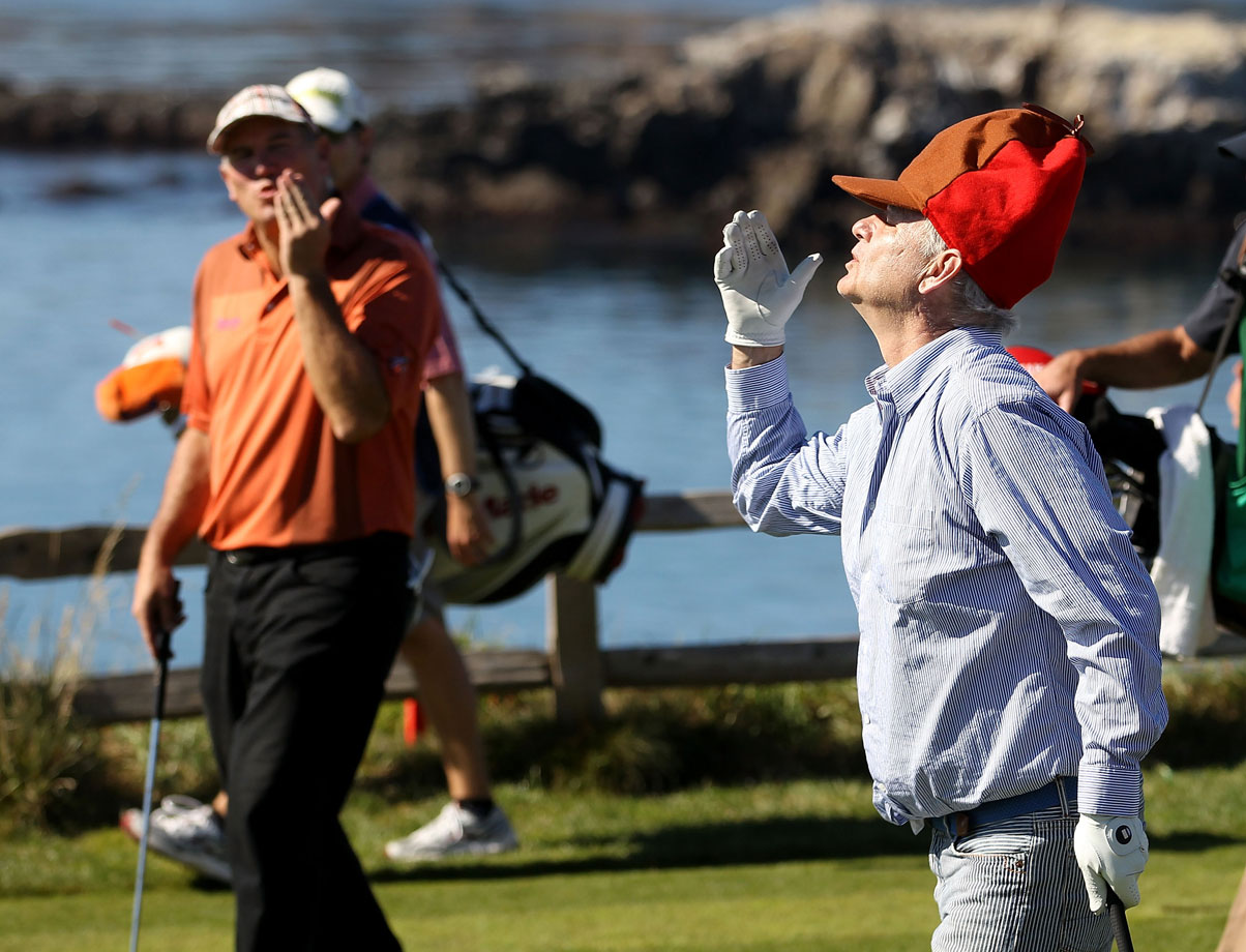 Bill Murray blows kisses to his playing partner, D.A. Points, after they teed off on the 7th hole during the AT&T Pebble Beach National Pro-Am golf tournament on Feb. 12, 2011 in Pebble Beach, Calif.