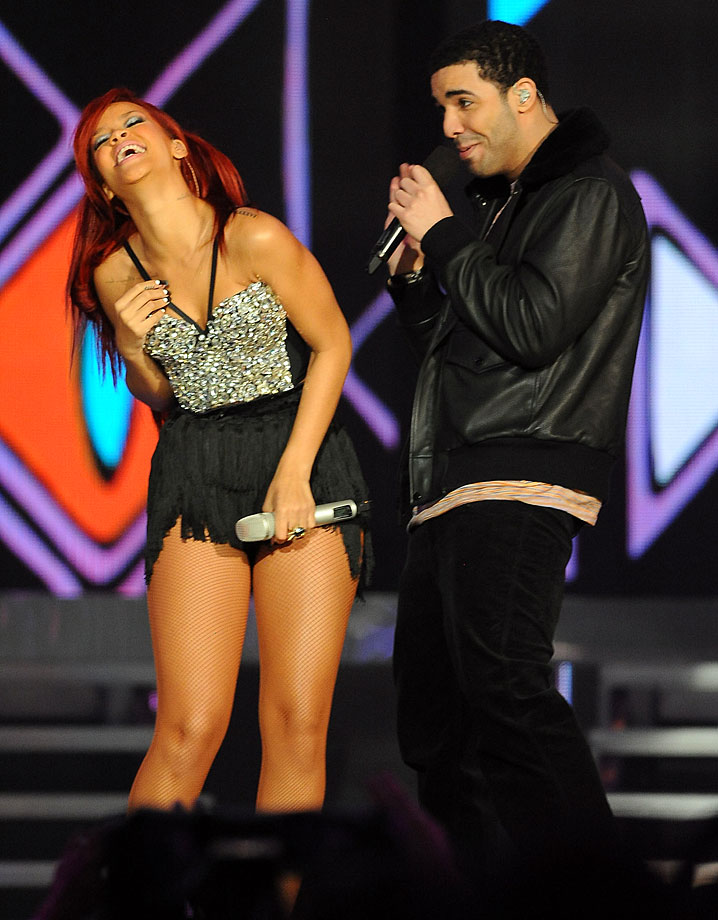 Rihanna and Drake perform during halftime of the NBA All-Star Game on Feb. 20, 2011 at Staples Center in Los Angeles, California.