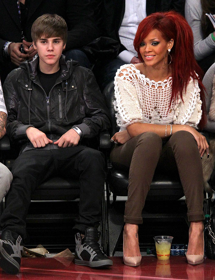 Justin Bieber and Rihanna attend the NBA All-Star Game on Feb. 20, 2011 at Staples Center in Los Angeles, California.