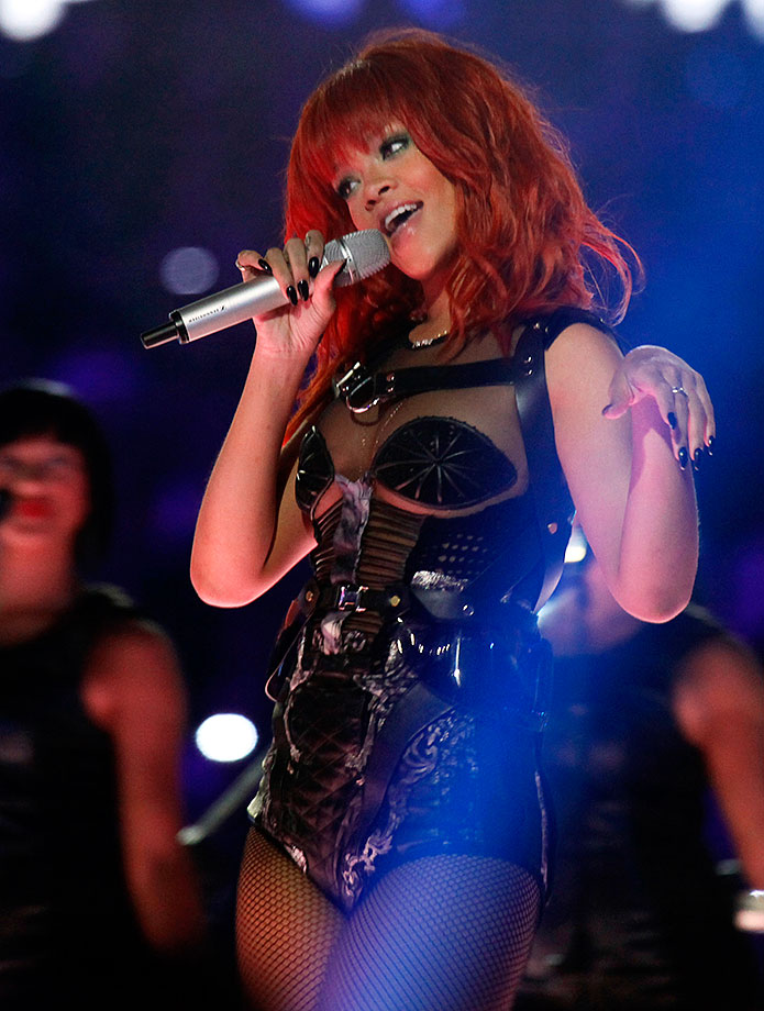 Rihanna performs during the 75th anniversary celebration of Champions League quarterfinalists FC Shakhtar Donetsk on May 14, 2011 at Donbass Arena in Donetsk, Ukraine.