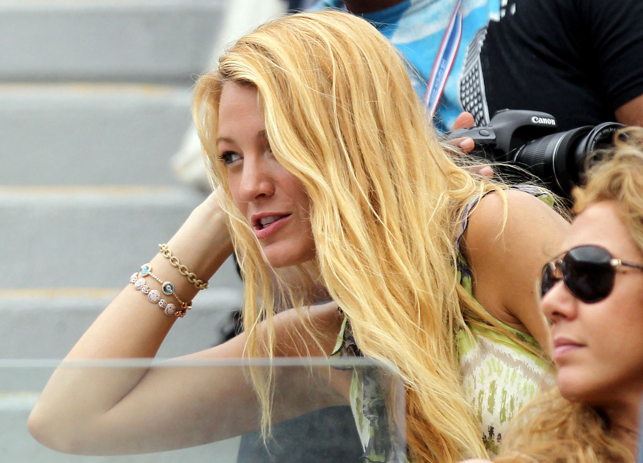 Blake Lively watches as Serena Williams plays against Ana Ivanovic of Serbia during Day Eight of the 2011 U.S. Open at the USTA Billie Jean King National Tennis Center on Sept. 5, 2011 in Flushing, N.Y.