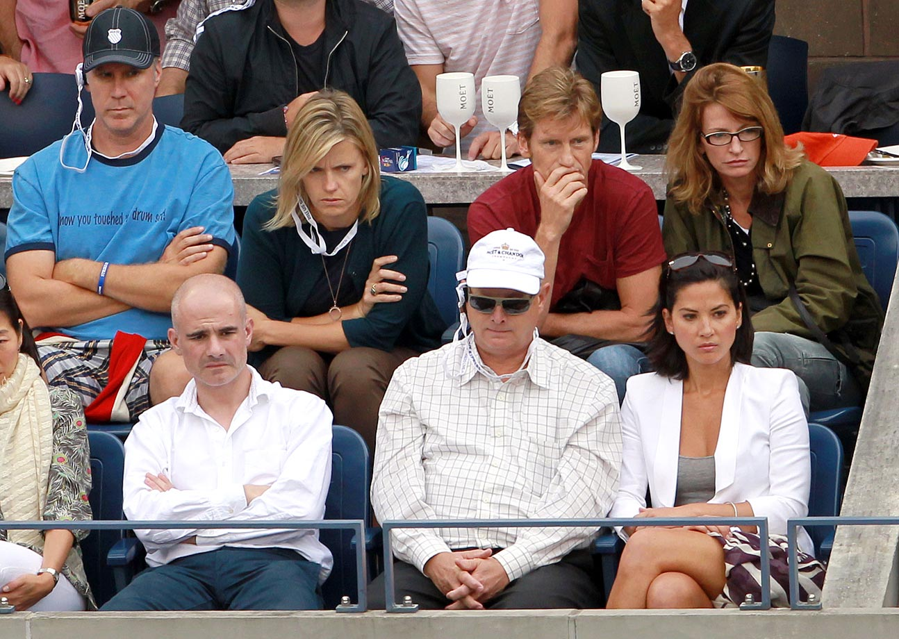 Will Ferrell, Denis Leary and Olivia Munn attend Day Fourteen of the US Open at the USTA Billie Jean King National Tennis Center on Sept. 11, 2011 in Flushing, N.Y.
