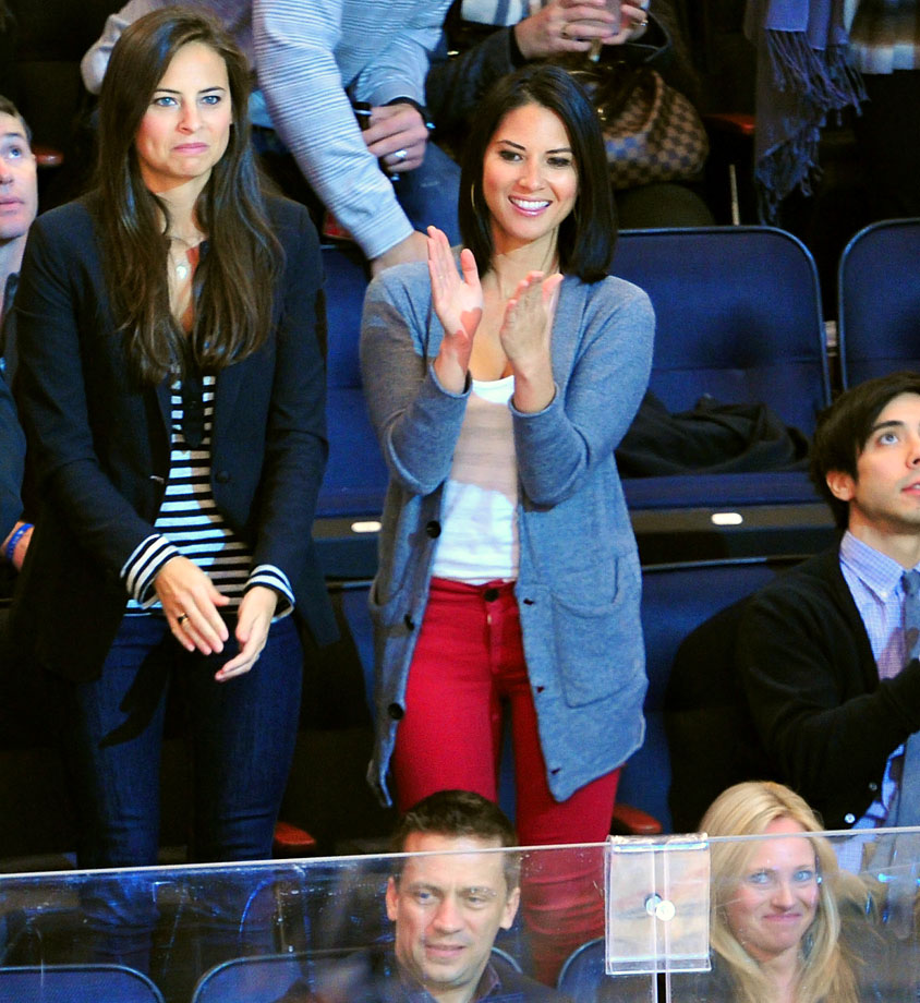 Olivia Munn cheers for the New York Rangers during their game against the Montreal Canadiens at Madison Square Garden on Nov. 5, 2011 in New York City.