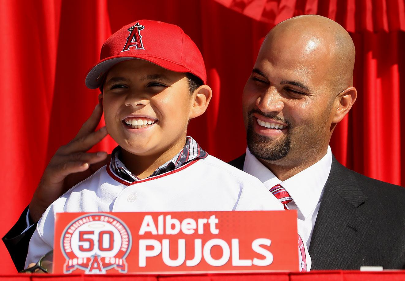 Albert Pujols and son Albert Jr.
