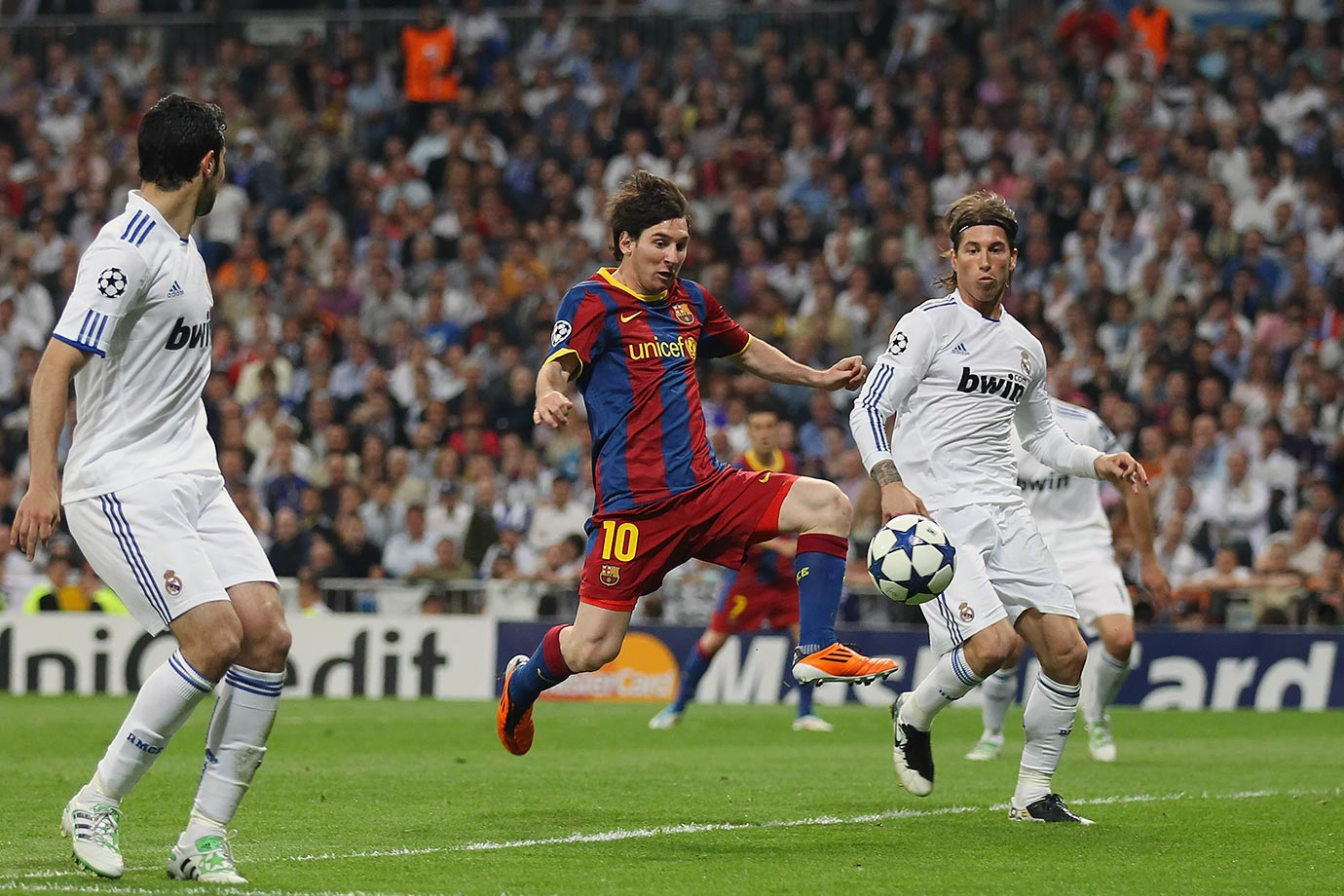 First leg of the Champions League semifinals. Lionel Messi scores twice en route to Barcelona advancing to the final it would eventually win. The second leg a week later capped a run of four Clasico's in 18 days.