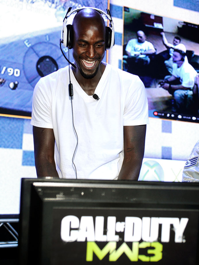 Kevin Garnett battles it out at the first ever Call of Duty XP at the Stages at Playa Vista in Los Angeles.