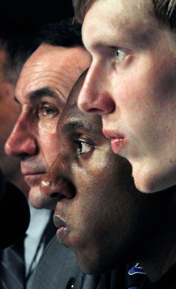 Mike Krzyzewski, Nolan Smith and Kyle Singer are grim-faced as they answer questions from the media after Arizona shocked Duke, 93-77, in the 2011 West Region semifinals.