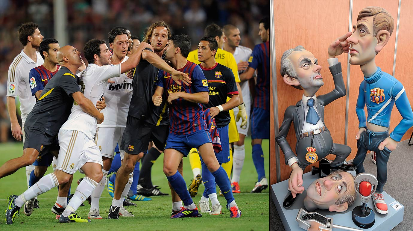 Barcelona beats Real Madrid 3-2 in the Spanish Super Cup, but the match is remembered for the fracas at the end, which featured Real Madrid manager Jose Mourinho gouging Barcelona assistant Tito Vilanova in the eye.
