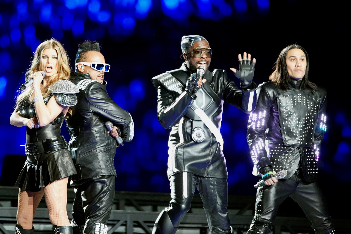 Big on style but lacking substance, the Black Eyed Peas made a big entrance, descending from the ceiling of Cowboy Stadium with an impressive light, but their performance went downhill from there. Between the almost complete lack of movement from the group and Fergie's off-key singing, the Black Eyed Peas failed to live up to the hype of the first under-50 Super Bowl halftime performers since Janet Jackson and Justin Timberlake.