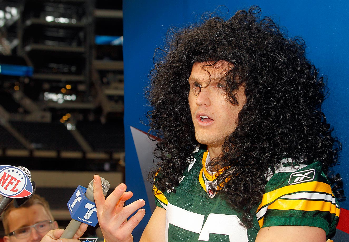 Clay Matthews was just one of many Packers and Steelers players to wear a Troy Polamalu wig for Media Day prior to Super Bowl XLV.