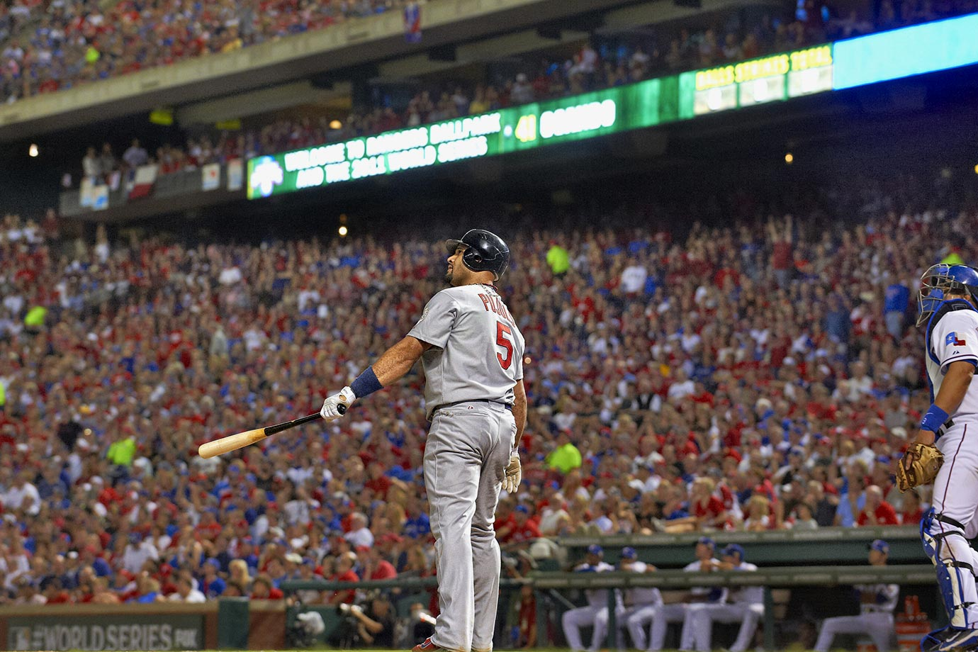 Albert Pujols had the most productive game in World Series history, going 5-for-6 with three homers and six RBIs, leading the Cards past the Rangers 16-7 in Game 3. Pujols became the third player to hit three homers in a Series game, joining Babe Ruth, who did it in 1926 and again in 1928, and Reggie Jackson's performance in 1977. His six RBIs tied the record in a game, matching Bobby Richardson in 1960 and Hideki Matsui in 2009.
