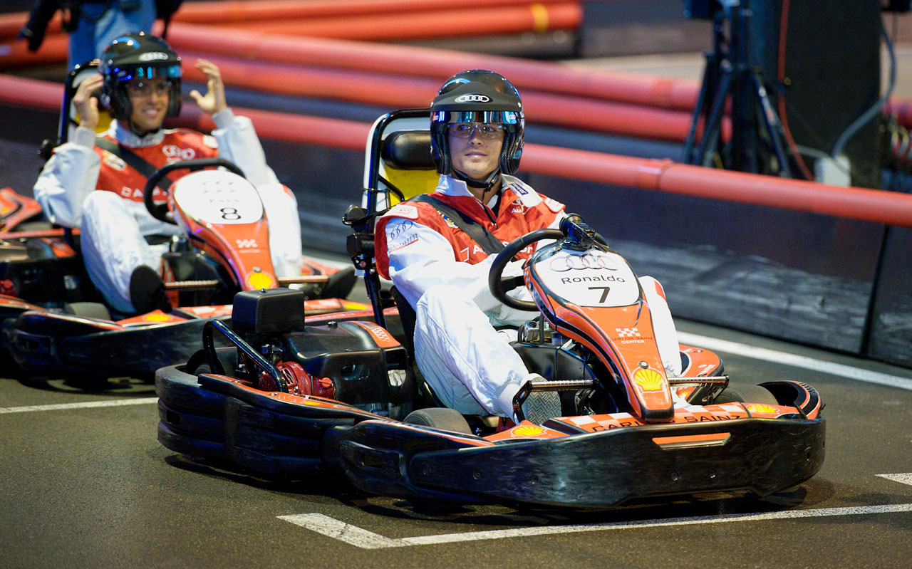 Cristiano Ronaldo participates in a kart race with his Real Madrid teammates at Carlos Sainz Center in Madrid.