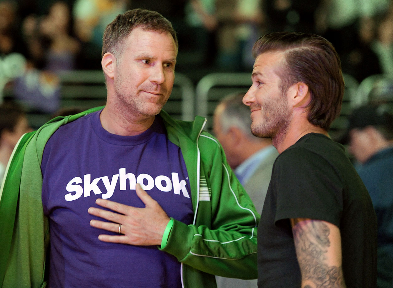 Will Ferrell and David Beckham attend the Los Angeles Lakers game against the New Orleans Hornets on April 20, 2011 at Staples Center in Los Angeles.