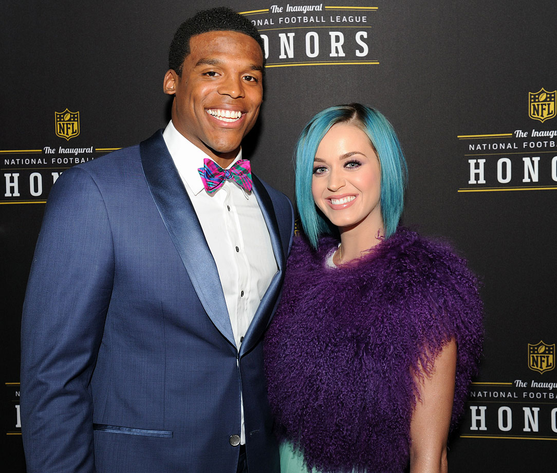 Cam Newton and Katy Perry pose together backstage during the NFL Honors show on Feb. 4, 2012 at the Murat Theatre in Indianapolis.