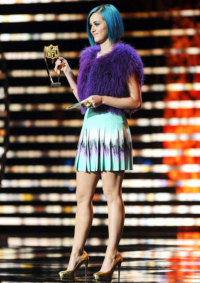 Katy Perry presents an award during the NFL Honors on Feb. 4, 2012 at the Murat Theatre in Indianapolis.
