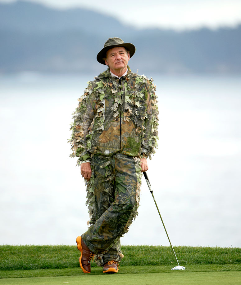 Bill Murray sports a camouflage outfit during the AT&T Pebble Beach National Pro-Am golf tournament on Feb. 11, 2012 in Pebble Beach, Calif.