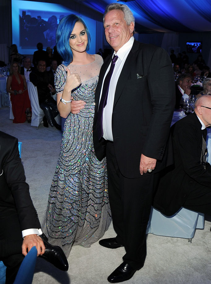 Katy Perry and New York Giants Chairman/Executive VP Steve Tisch attend the 20th Annual Elton John AIDS Foundation Academy Awards Viewing Party at The City of West Hollywood Park on Feb. 26, 2012 in Beverly Hills, Calif.