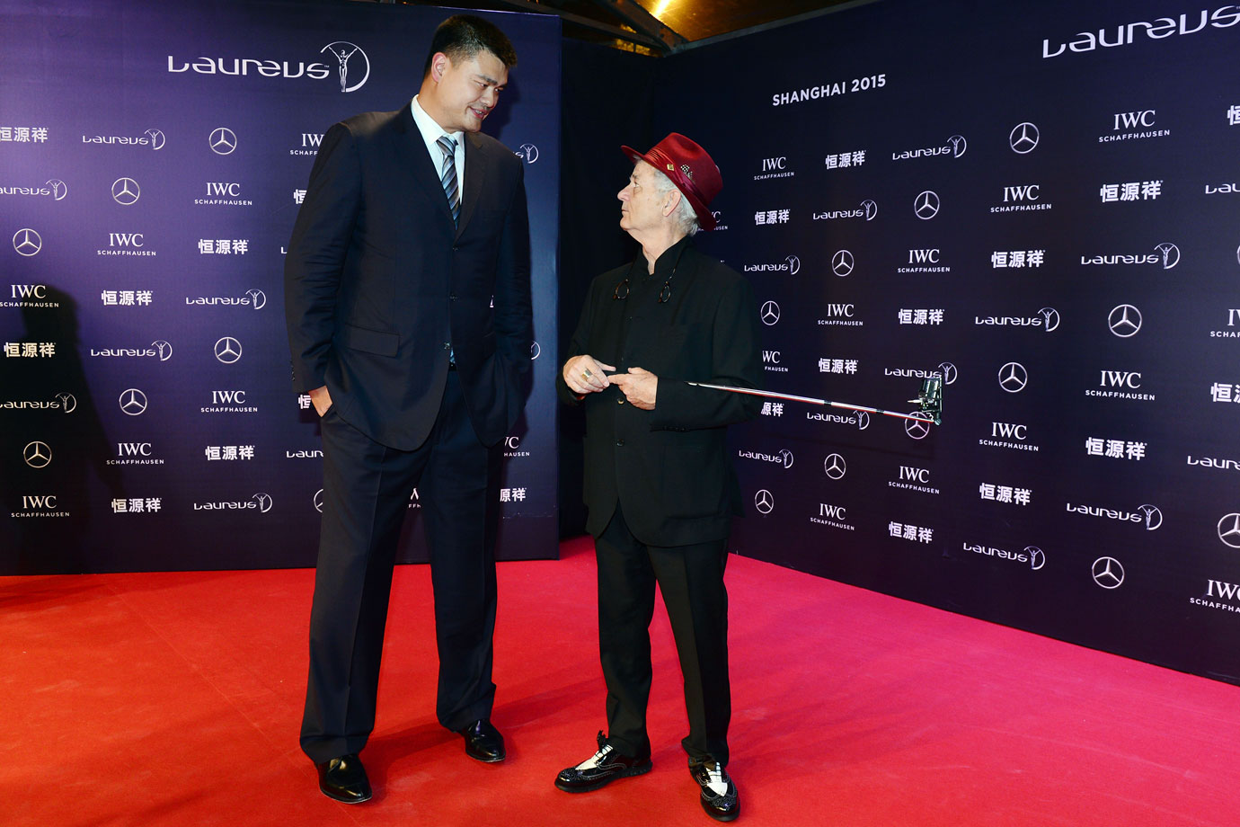 Yao Ming and Bill Murray attend the Laureus World Sports Awards on April 15, 2015 at Shanghai Grand Theatre in Shanghai, China.