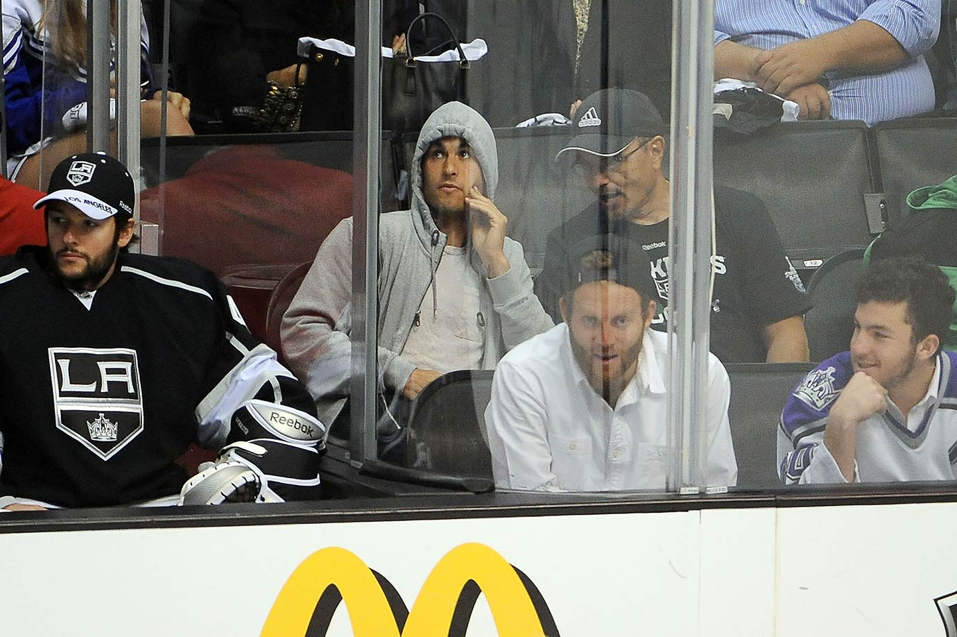 Landon Donovan watches the Los Angeles Kings and the St. Louis Blues in Game 4 of the Western Conference semifinals during the 2012 Stanley Cup Playoffs at the Staples Center in Los Angeles.