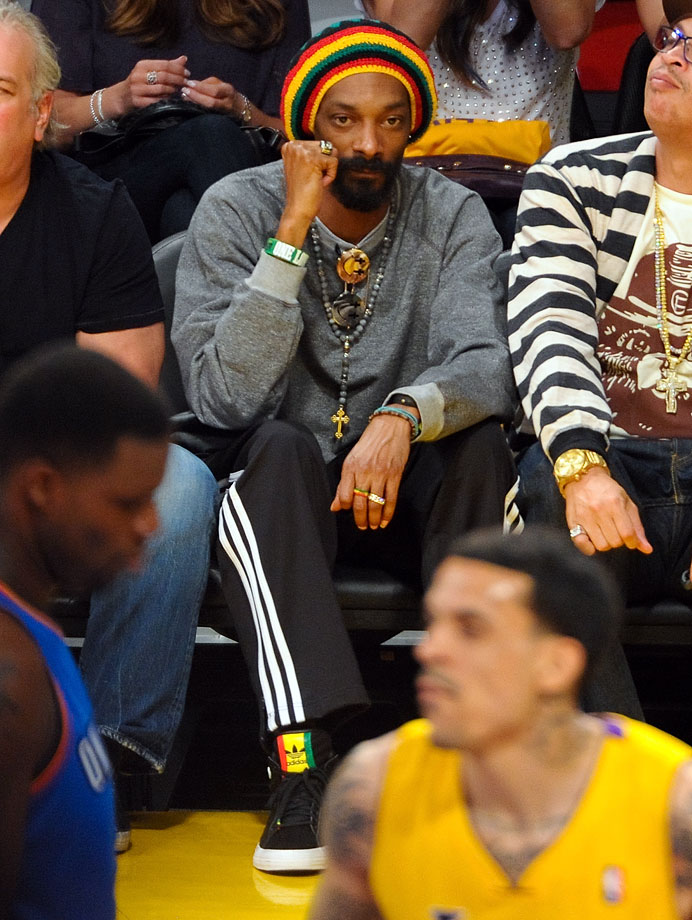 Snoop Dogg attends Game Three of the Western Conference Semifinals between the Los Angeles Lakers and Oklahoma City Thunder on May 18, 2012 at Staples Center in Los Angeles.