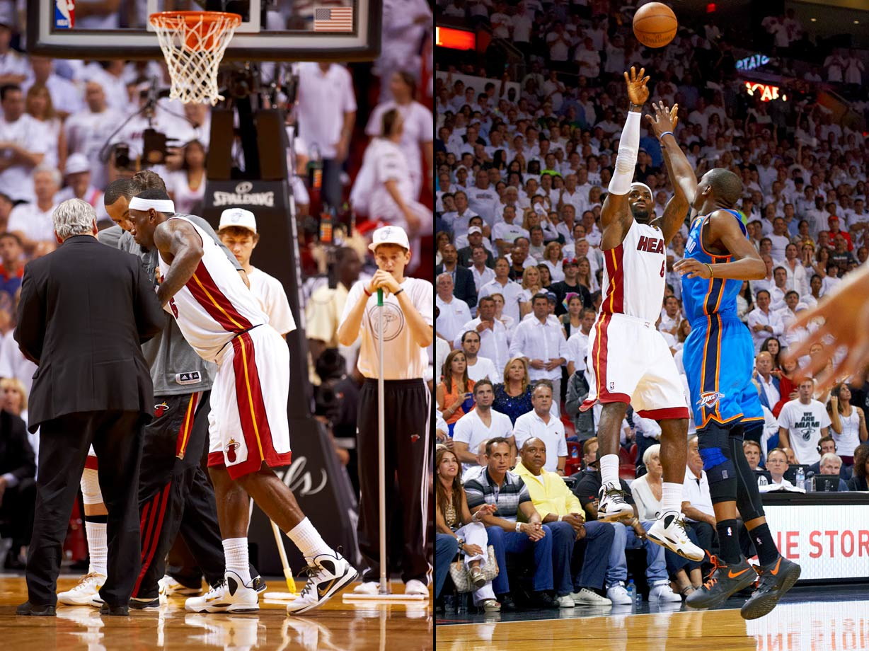 LeBron James was heavily criticized for his play in Miami's Finals loss to Dallas in 2011, but it was hard to quibble with his performance a year later against Oklahoma City. Exhibit A was Game 4. Just minutes after leaving the game with leg cramps, James returned to nail a go-ahead three-pointer with 2:50 left as the Heat defeated the Thunder 104-98. LeBron finished with 26 points, nine rebounds and 12 assists for the Heat, who took a 3-1 series lead en route to winning James' first championship two nights later.