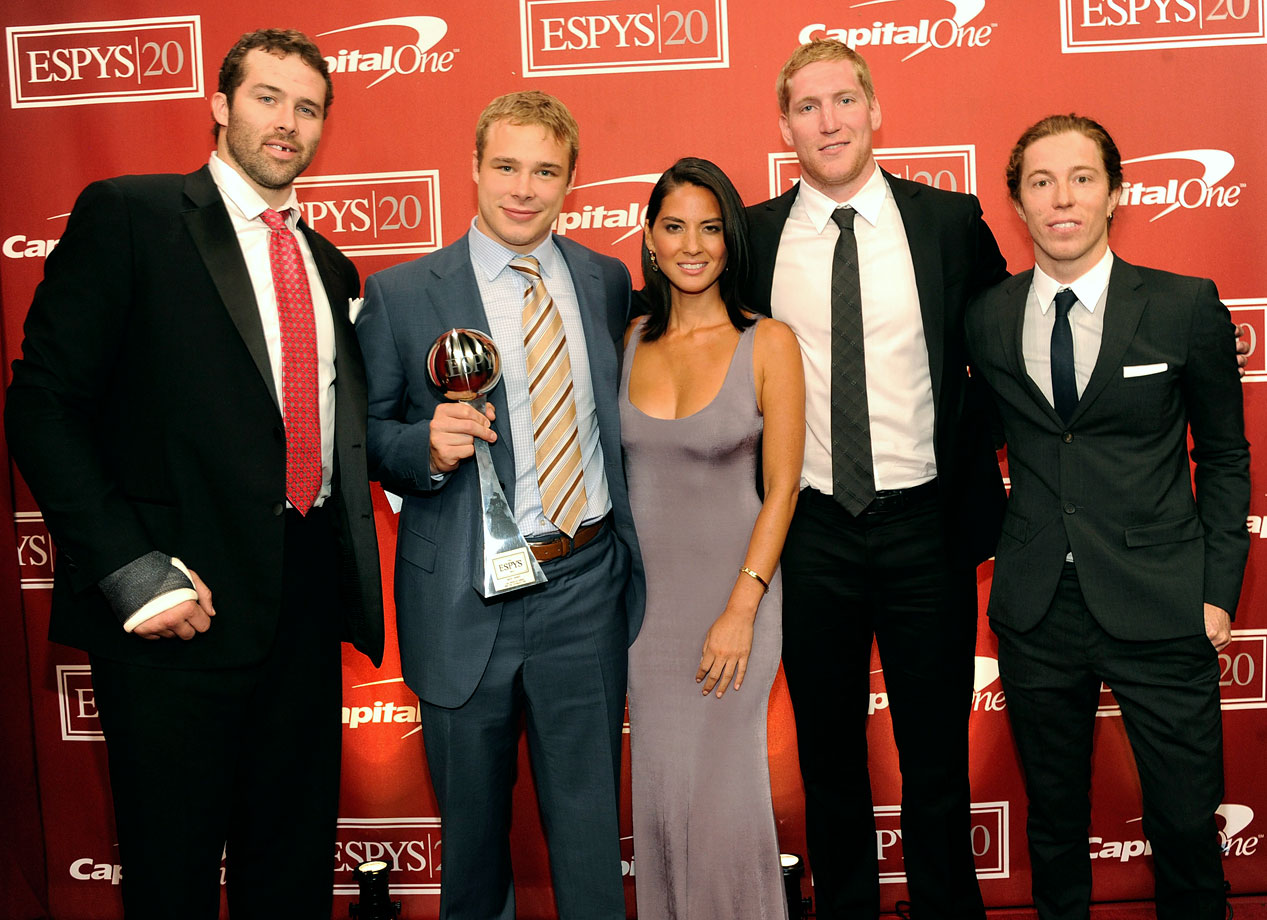 Dustin Penner, Dustin Brown, Olivia Munn, Matt Greene and Shaun White pose together after Munn and White presented the Los Angeles Kings players the ESPY for Best Upset at the 2012 ESPY Awards at Nokia Theatre L.A. Live on July 11, 2012 in Los Angeles.