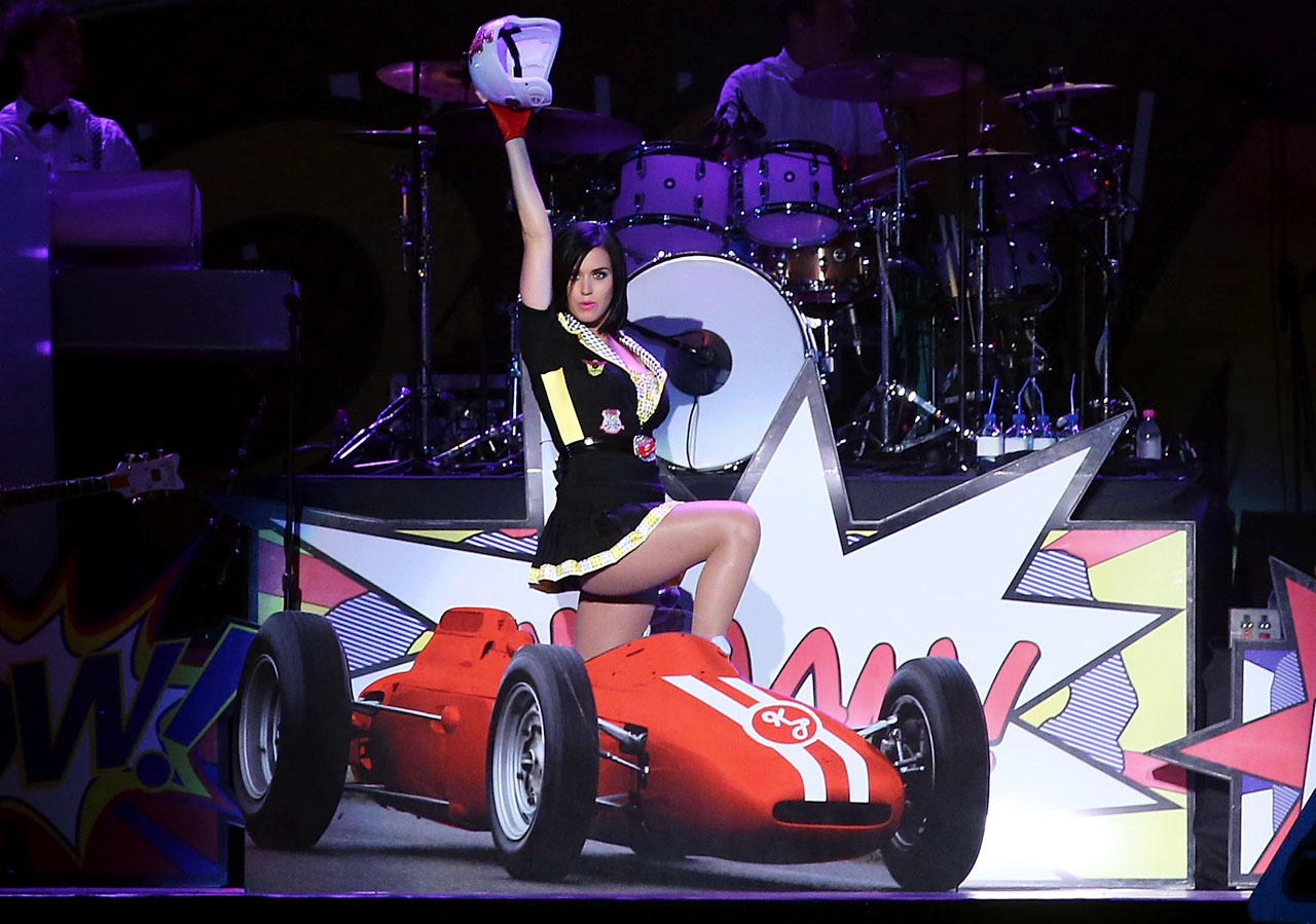Katy Perry performs after the Singapore Formula 1 Grand Prix on the Marina Bay City Circuit on Sept. 23, 2012 in Singapore.