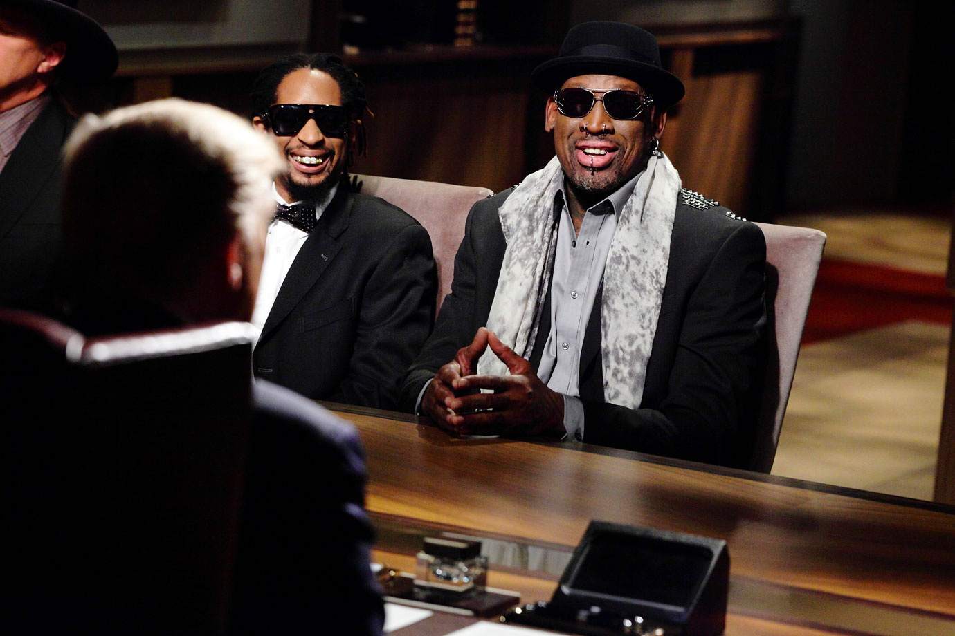 "Rodman and Lil Jon speak with ""The Donald"" during ""All-Star Celebrity Apprentice."""