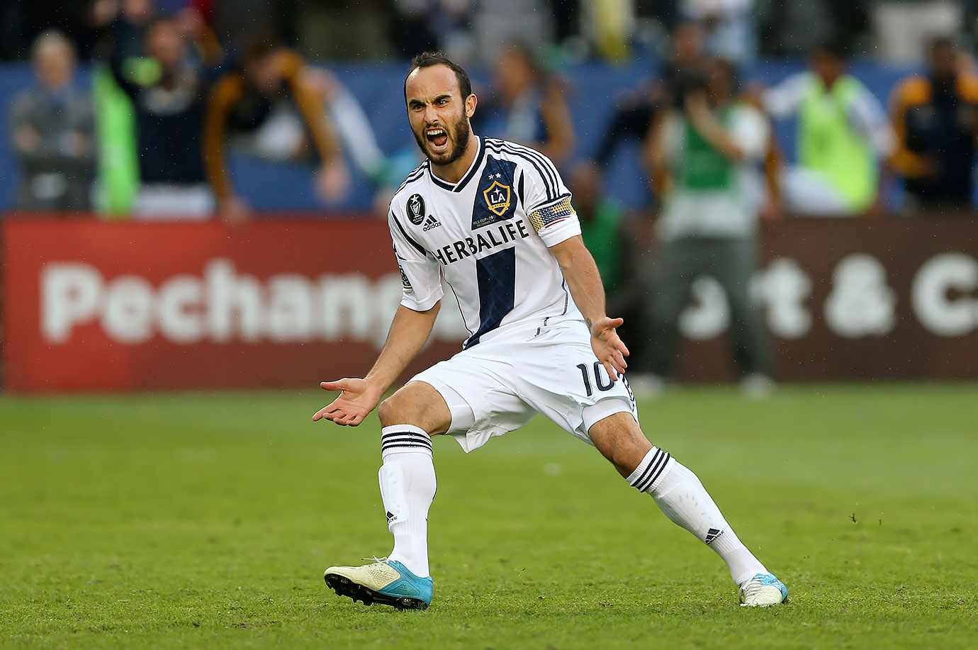 Landon Donovan reacts after scoring on a penalty kick in the second half against the Houston Dynamo in the 2012 MLS Cup. The Los Angeles Galaxy won 3-1.