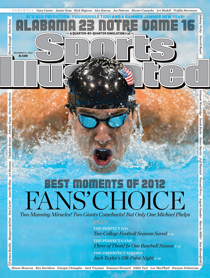 After a voting campaign that reached millions of sports fans across Facebook, Twitter and Instagram, the fans had spoken. Michael Phelps capping off his storied career at the London 2012 Summer Olympics was Sports Illustrated's 2012 Moment of The Year.