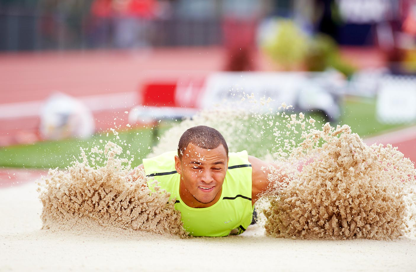 Aarik Wilson in the triple jump finals at the 2012 Olympic Trials.